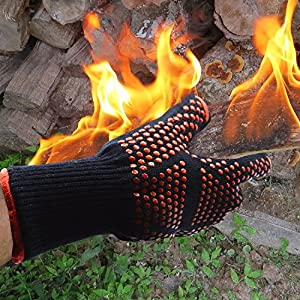 Heat Resistant Oven Gloves By Pulnda 932f Extreme Bbq Grill Cooking Gloves - Anti-hot Antislip Glove Fire Gloves For Fireplace And Fire Pit Kitchen Accessories Cast Iron Pan Fireplace Tools Outdoor Working 1 Pair by PULNDA