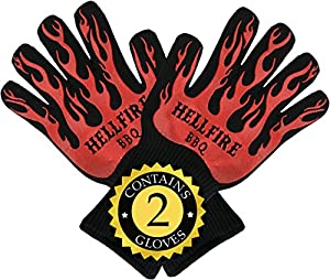 Hellfire Bbq Ove Gloves Are Extremely Flame Heat Resistant Barbecue Mitts With Silicone Fingers For Grill Smoker Pit Fireplace Camping Or Kitchen Oven Protection To 500 Degrees Celsius from HellFire