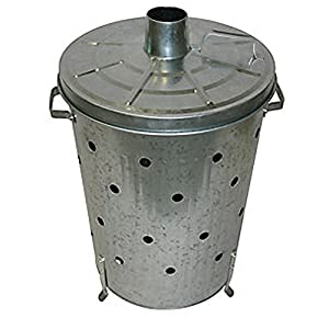Home Discount 90l Litre Incinerator Galvanised Metal Garden Fire Bin Dustin Rubbish Waste Burner by Home Discount®