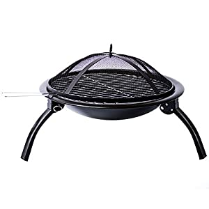 Home Discount Fire Pit Steel Folding Outdoor Garden Patio Heater Grill Camping Bowl Bbq With Poker Grill Cover Grate from Home Discount
