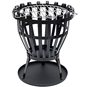 Home Discount Steel Brazier Outdoor Garden Patio Heater Fire Burning Log Wood Burner Basket Bbq Grill Ash Tray Round by Home Discount