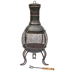Home Discount Steel Chiminea Outdoor Garden Patio Heater Bbq Cooking Grill Chimnea Chimenea Black Antique Gold from Home Discount