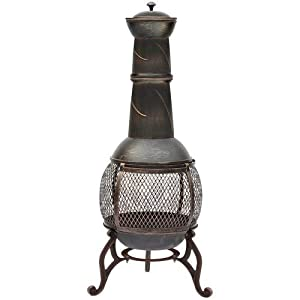 Home Discount Steel Chiminea Outdoor Garden Patio Heater Grill Chimnea Chimenea Black Antique Gold Large from Home Discount