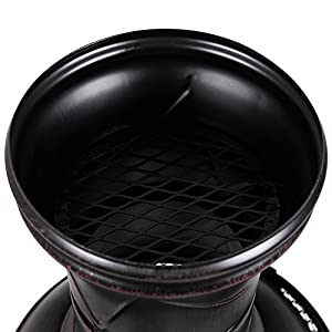 Home Discount Steel Chiminea Outdoor Garden Patio Heater Grill Chimnea Chimenea Black Antique Gold by Home Discount