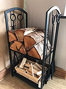 Homezone Indooroutdoor Firewood Log Rack For Fireplace Heavy Duty Wood Stacking Holder For Patio Deck Metal Log Storage Stand Wood Pile Racks Outside Firepit With Tools Accessories by Homezone®