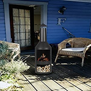 Ikayaa Extra Large Chimenea Garden Fire Pit Outdoor Metal Fireplace Heater Patio Wood Burner 600 Heat-resistant With Ash Tray Poker by iKayaa