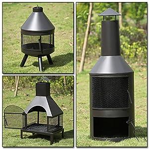 Ikayaa Large Fire Pit Chimenea Garden Outdoor Metal Backyard Heater Fireplace Patio Chimney Wood Burner With Poker by iKayaa