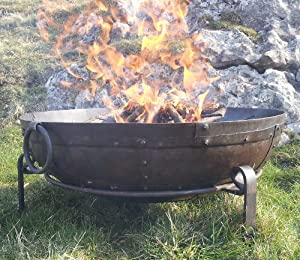Indian Fire Bowl Set 80cm Bowl Grill Stand Kadai Style Bowl by thebeeshop