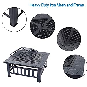 Inmozata 3 In 1 Fire Pit With Bbq Grill Shelf Afor Garden Patio Outdoor Metal Brazier Square Table Firepit Heaterbbqice Pit by INMOZATA