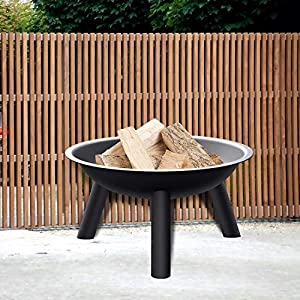 Intey Fire Pit With Black Iron Folding Outdoor Garten Heater Patio Large Fire Bowl Camping Fire Pot With 58cm Diameter Bbq Burner For Wood Charcoal from INTEY