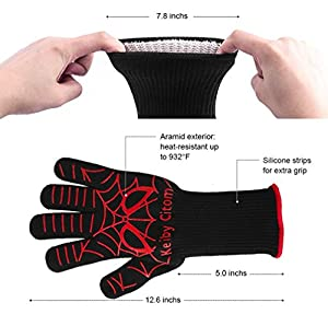 K Keiby Citom Fire Resistant Gloves Fire Pit 932f Heat Resistant - Bbq Gloves For Barbecue Kitchen Outodor Cooking Baking Fireplace Accessories With 2 Free Mini Oven Mitts Blackred from KC1065