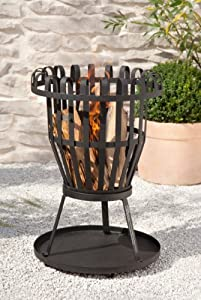 Kaminoflam Fire Pit And Grill Cast Iron - Outdoor Fire Pit And Bbq - Cast Iron Fire Pit Grill - Round Portable Fire Pit For Firewood And Coal - Portable Barbecue - Garden Fireplace - Garden Barbecue from Kamino-Trend
