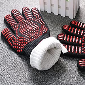 Kealux 932 F Extreme Heat Resistant Oven Gloves Bbq Grilling Cooking Gloves Fire Gloves For Fireplace And Fire Pit Smoker Kitchen Accessories-1 Pairblackred Dot from Kealux