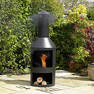 Kingfisher Black Steel Log Burner With Built In Log Store Outdoor Garden Furniture by Kingfisher