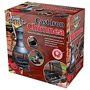 Kingfisher Chim1a Outdoor Chiminea Bbq Heater Black Powder Coated Steel by Bonningtons