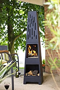 La Hacienda 150 Cm Oxford Contemporary Steel Chiminea Patio Heater With Wood Store - Black from La Hacienda Ltd