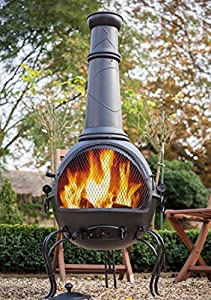 La Hacienda 56063b 136cm Xl Murcia Steel Chiminea With Grill - Black from La Hacienda