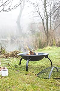 La Hacienda 58106 Camping Firebowl With Grill Folding Legs And Carry Bag - Black by La Hacienda