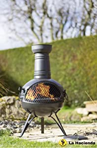 La Hacienda 78cm Rancho Steel Chiminea Chimenea Patio Heater With Bbq Grill