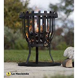 La Hacienda Alberta Black Steel Firebasket by La Hacienda