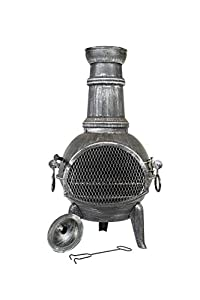 La Hacienda Arriba Steel Chimenea With Cast Iron Legs And Grill Pewter Effect 56140 by La Hacienda