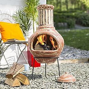 La Hacienda Calido Large Clay Chiminea Patio Heater by la Hacienda