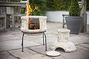 La Hacienda Clay Chiminea Star Flower With Bbq Grill from La Hacienda