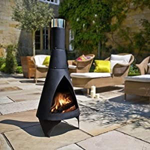 La Hacienda Colorado Steel Black Garden Chiminea from Worldstores