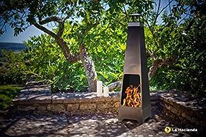 La Hacienda Contemporary Tall 120cm Steel Chiminea from Home Essentials Inc