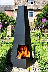 La Hacienda Cuba Black Steel Chimenea Chiminea Patio Heater
