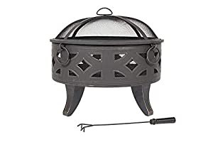 La Hacienda Diamond Deep Steel Firepit With Cooking Grill Bronze Effect 58091 from La Hacienda