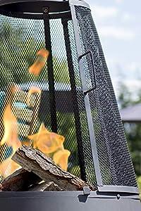 La Hacienda Extra Large Mesh Colorado Black Steel Chiminea Patio Heater