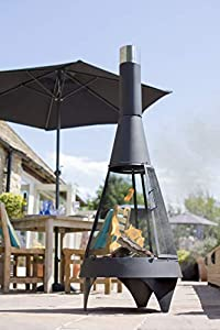 La Hacienda Extra Large Mesh Colorado Black Steel Chiminea Patio Heater