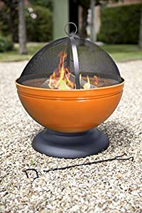 La Hacienda Globe Enamelled Firepit With Cooking Grill Orange 60x60x56 Cm by La Hacienda