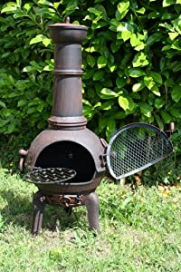 La Hacienda Large Cast Iron Havana Chimenea Bronze from La Hacienda