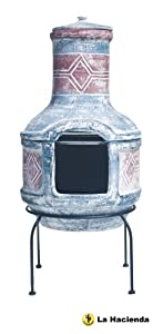 La Hacienda Large Geometric Chiminea And Bbq Blue Red With Grill Clay 67031 by La Hacienda