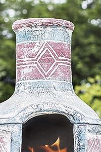 La Hacienda Large Geometric Chiminea And Bbq Blue Red With Grill Clay 67031 by La Hacienda