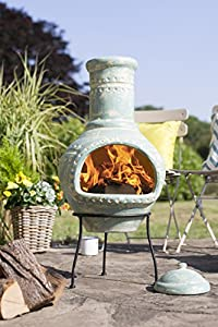 La Hacienda Lumbre Blue Aqua Large Clay Chiminea Patio Heater by la Hacienda