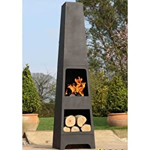 La Hacienda Malmo Steel 150cm Chiminea Chimenea Patio Heater With Wood Store