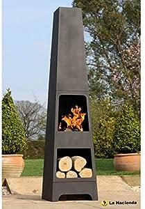 La Hacienda Malmo Steel 150cm Chiminea Chimenea Patio Heater With Wood Store