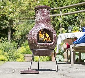 La Hacienda Medium Clay Chimenea - Burnt Red 67033 from GreatGardensOnline