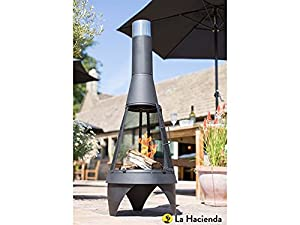 La Hacienda Medium Mesh Colorado Black Steel Chiminea Patio Heater