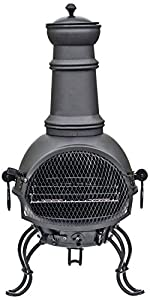 La Hacienda Murcia Medium Black Steel Chiminea With Grill 89cm from Buchanan Europe Ltd