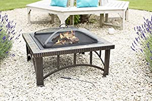 La Hacienda Real Slate Mosaic Rimini Firepit Patio Heater Wood Burner