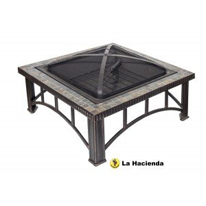 La Hacienda Real Slate Mosaic Rimini Firepit Patio Heater Wood Burner