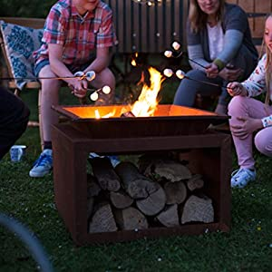La Hacienda Ruga Oxidised Steel Firepit With Stand from La Hacienda