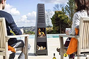 La Hacienda Skyline Black Steel Garden Chiminea With Laser Cut Design 150cm High