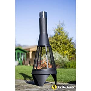 La Hacienda Small Mesh Colorado Black Steel Chiminea Patio Heater by La