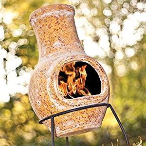 La Hacienda Small Yellow Clay Chiminea Chimenea Patio Heater by La Hacienda