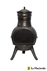 La Hacienda Squat Bronze Effect Cast Ironsteel Mix Chiminea Patio Heater